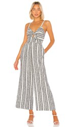 Splendid Luau Jumpsuit In Blue. Navy And Off White