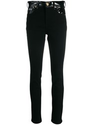 Versace Jeans Couture Contrast Panel Skinny Trousers Black