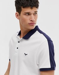 Threadbare Polo Shirt With Cut And Saw Panels White