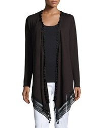 Elie Tahari Roseanna Long Lace Hem Open Cardigan Black