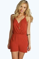 Boohoo Cami Plunge Strappy Playsuit Rust