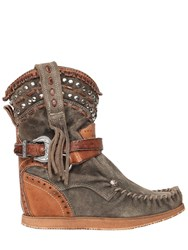 El Vaquero 70Mm Fringed And Studded Suede Boots
