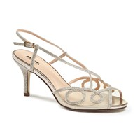 Paradox London Pink Imogen Strappy Mid Heel Sandals Champagne