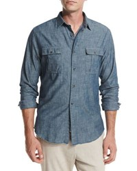 Vince Distressed Chambray Utility Shirt Blue