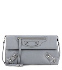 Balenciaga Classic Metallic Edge Envelope Leather Shoulder Bag Grey