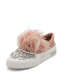Miu Miu Jeweled Feather Skate Sneaker Neutral Pattern