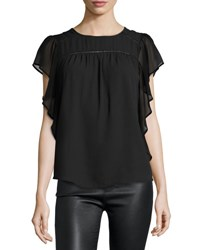 Marled By Reunited Flutter Sleeve Chiffon Blouse Black