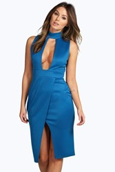 Boohoo High Neck Cut Out Wrap Midi Dress Teal