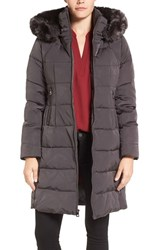 Vince Camuto Women's Down And Feather Fill Coat With Faux Fur Trim Hood Iron