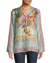 Johnny Was Chloris Floral Georgette Blouse Multi