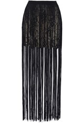 Haute Hippie Fringed Lace And Satin Mini Skirt Black