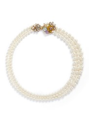 Miriam Haskell Crystal Floral Clasp Three Strand Glass Pearl Necklace White Multi Colour