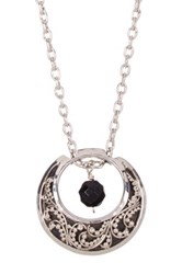 Lois Hill Sterling Silver Double Sided Moon And Bead Pendant Necklace Metallic