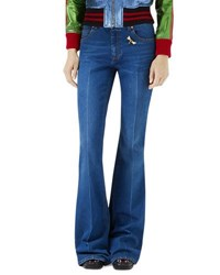 Gucci Flare Leg Jeans With Bee And Butterfly Patches Blue