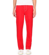 True Religion Contrast Stitched Jogging Bottoms Red