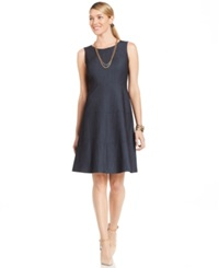Jones New York Boat Neck Fit And Flare Sleeveless Dress Navy Combo