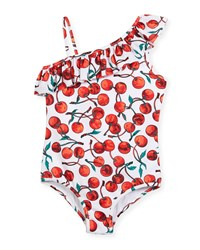 Milly Minis One Shoulder Ruffle Cherry Print One Piece Swimsuit Size 4 7 Multi