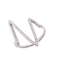 Lord And Taylor Clear Sterling Silver Asymmetrical Ring