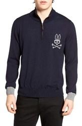 Psycho Bunny Men's Quarter Zip Pullover Navy