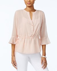 Tommy Hilfiger Sheer Peplum Top Only At Macy's Off White Black