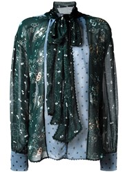 See By Chloe Floral And Dot Print Shirt Green