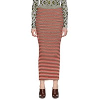 Paco Rabanne Red And Grey Striped Skirt