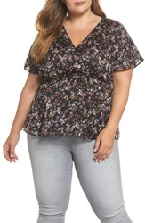 Cece Plus Size Abbey Bouquet V Neck Top Rich Black