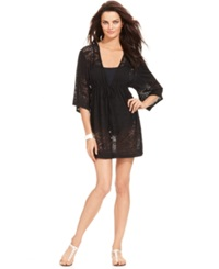 Dotti Lasercut V Neck Kimono Cover Up Women's Swimsuit Black