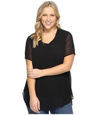 Vince Camuto Plus Size Short Sleeve Crew Neck Chiffon Overlay Blouse Rich Black Women's Clothing