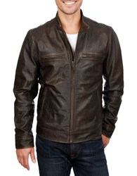 Lucky Brand Leather Moto Jacket Black