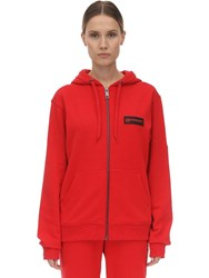 Burberry Zip Up Jersey Sweatshirt W Check Detail Red