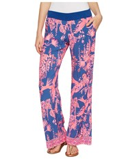 Lilly Pulitzer Seaside Beach Pants Indigo Night Caw Engineered Bottom Women's Casual Pants Pink