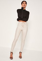 Missguided White Highwaisted Coated Lace Up Front Skinny Jeans Champagne