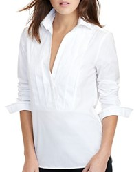Lauren Ralph Lauren Petite Antoniee Pleated Front Tuxedo Shirt White