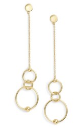 Argentovivo Argento Vivo Linear Open Ring Drop Earrings Gold