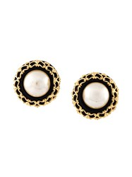 Chanel Vintage Filigree Disc Clip On Earrings Metallic