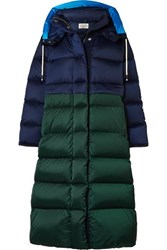 Tory Sport Two Tone Quilted Shell Down Coat Navy