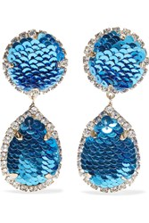 Shourouk Gold Tone Sequin And Crystal Clip Earrings Blue
