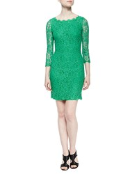Diane Von Furstenberg Zarita Boat Neck Lace Dress Women's Spring Green