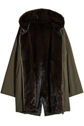 Army By Yves Salomon Reversible Cotton And Mink Parka Green