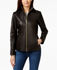 Cole Haan Stand Collar Leather Jacket Black