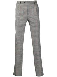 Daniele Alessandrini Checked Slim Fit Trousers Grey