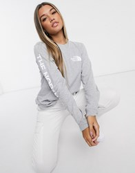 The North Face Sleeve Hit Long Sleeve T Shirt In Gray