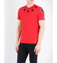 Givenchy Star Applique Cotton Jersey T Shirt Red