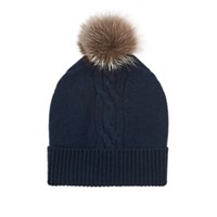 Barneys New York Fur Trimmed Cable Stitch Cashmere Beanie Navy