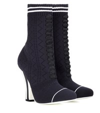 Fendi Stretch Knit Ankle Boots Black