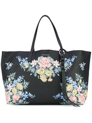 Alexander Mcqueen Floral Tote Bag Women Leather One Size Black