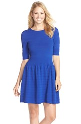 Petite Women's Eliza J Textured Sweater Fit And Flare Dress