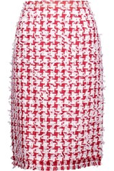 Oscar De La Renta Fringed Houndstooth Tweed Pencil Skirt Red