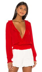 Parker Quincy Blouse In Red. Monaco Red